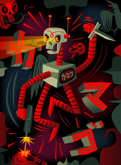 Tim Biskup - Deathbot Killing Spree - $500 Framed