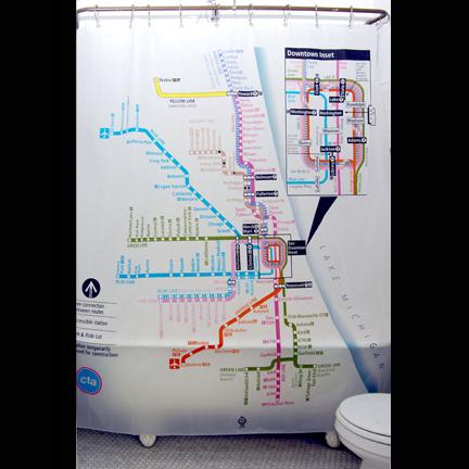 Peva Chicago Subway Map Shower Curtain