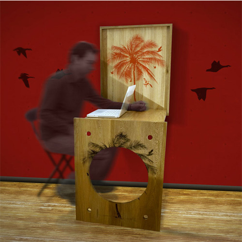 SquareMe Palm FoldOUT Desk with person at desk on computer