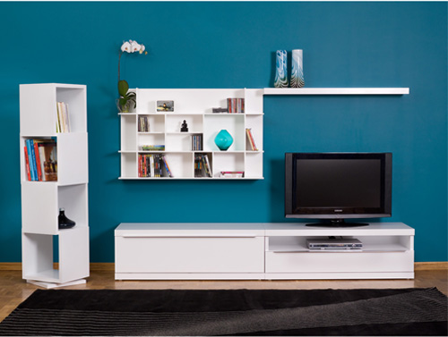 White furniture with bright colored walls six different ways for Bright colored side tables