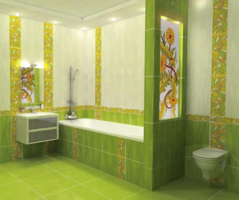 Bright coloured bathroom tiles with original innovation in for Bright bathroom designs